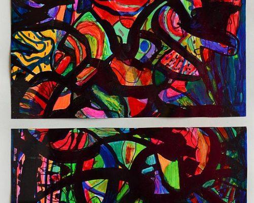 Pandele Rodica-Mihaela, Spaţii astrale, acrilic/h, 24,4 x 19,5 cm, GR 2982
