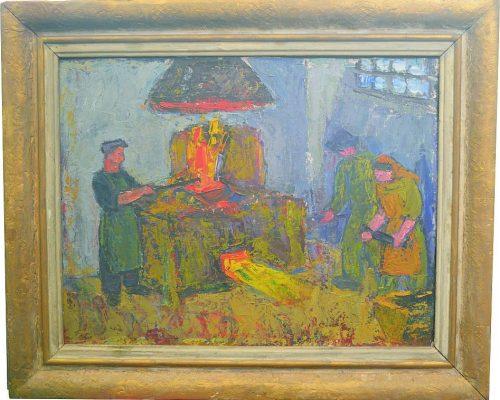 Tablou Rodica Pandele - La cuptorul de creuzet - ulei pe pfl (68 x 77)