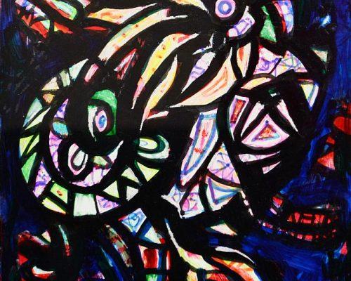 Pandele Rodica-Mihaela, Constelaţii-spaţiu mioritic, acrilic/h, 20,5 x 28 cm, GR 2984