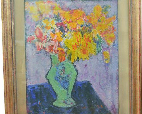 Tablou Rodica Pandele - Flori de toamnă   - ulei pe pfl (50 x 58)