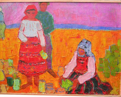 Tablou Rodica Pandele - Țărani la câmp  - pictură ulei pe pânză (71 x 94)