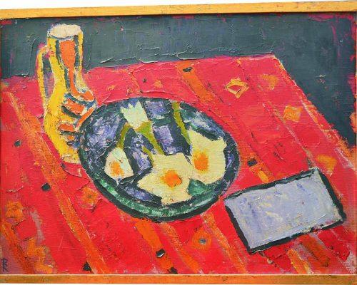 Tablou Rodica Pandele - Natura moartă farfurie și carafă pe masă  - ulei pe pfl semnată pe spate (50 x 68)