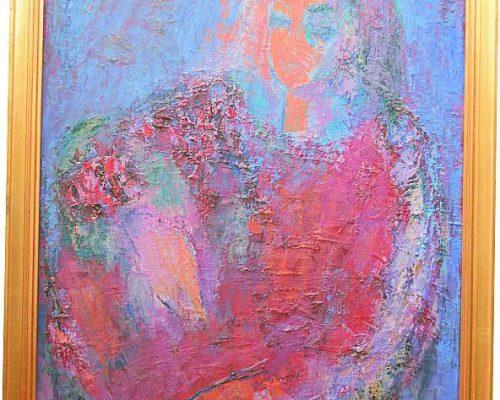 Tablou Rodica Pandele - Autoportret  - semnat P.R. (62 x 81)