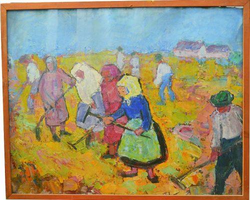 Tablou Rodica Pandele - La lucru Rodica Pandele  - semnătură pe spate (8 țărani) – ulei pe pfl (59 x 73)