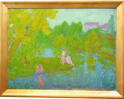 Tablou Rodica Pandele - Tineri la râu  - ulei pe pânză (73 x 94)