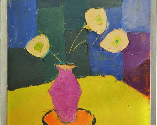 Tablou Rodica Pandele - Vas cu 3 flori  - semnat Pandele Rodica – ulei pe pfl (50 x 60)