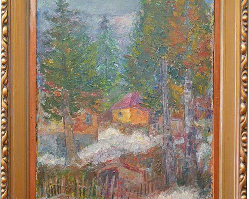 Tablou Rodica Pandele - Case în pădure  - ulei pe pfl (60 x 72)