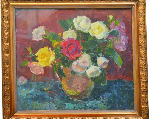 Tablou Rodica Pandele - Vas cu trandafiri  - pictură pe pfl (60 x 67)
