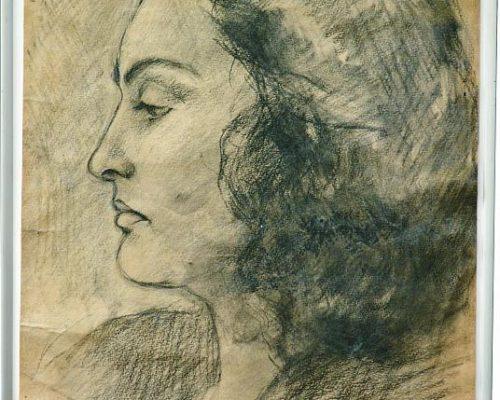 Tablou Rodica Pandele - Autoportret grafică - (27 x 39)