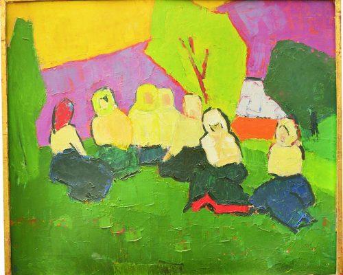Tablou Rodica Pandele - Țărani la odihnă  - odihnă la câmp – semnat Pandele Rodica (70 x 83)